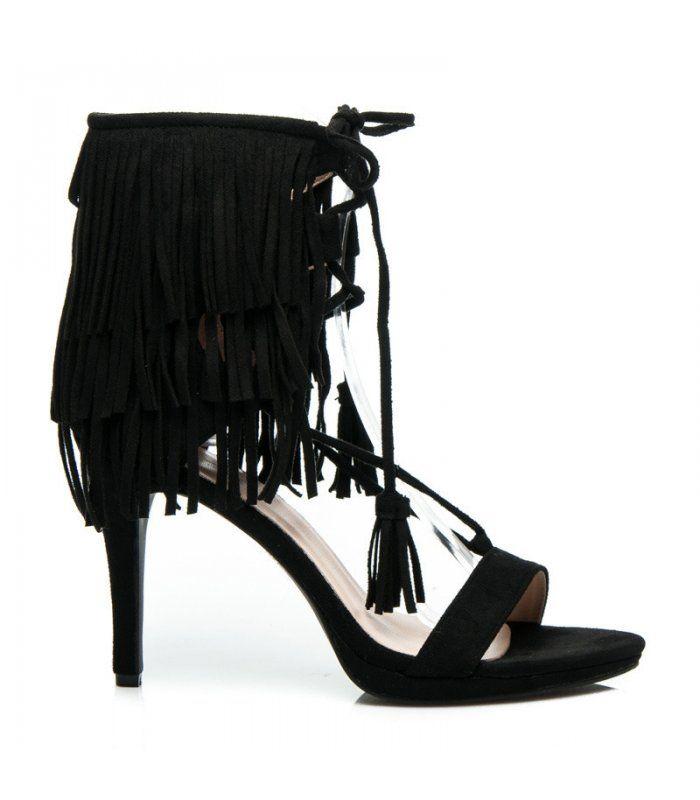 Viazané sandále so strapcami 8125-1B