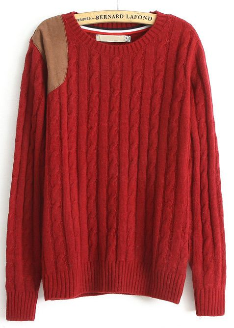 Buy Red Long Sleeve Contrast Leather Cable Knit Sweater from abaday.com, FREE shipping Worldwide - Fashion Clothing, Latest Street Fashion At Abaday.com