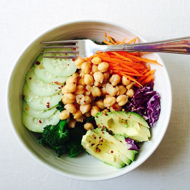Avocat   / pois chiches / choux Rouge / carottes râpées / brocolis / concombre
