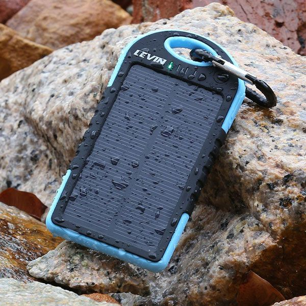 This warterproof & shockproof Levin solar charger buy from Amazon http://www.amazon.com/Levin-6000mAh-Portable-Charger-Samsung/dp/B00JEGLLHM/ref=sr_1_1?ie=UTF8&qid=1436946217&sr=8-1&keywords=LEVIN+SOLAR+CHARGER
