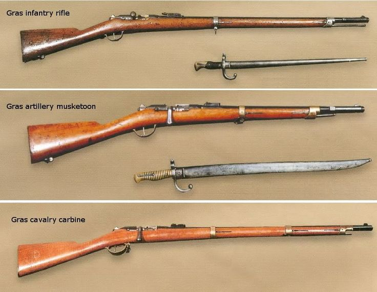 Specifications Greek Gras infantry rifle,  artillery musketoon and cavalry carbine  Greek Gras Mle 1874 infantry rifle Weight: 4.2 kg Length: 1.32 m Barrel Length: 0.82 m Caliber: 11 mm Muzzle velocity: 450 m/s  Greek Gras Mle 1874 artillery musketoon Weight: 3.3 kg  Length: 0.99 m Barrel Length: 0.49 m  Caliber: 11 mm  Muzzle velocity: 410 m/s  Greek Gras Mle 1874 cavalry carbine Weight: 3.75 kg Length: 1.171 m Barrel Length: 0.72 m Caliber: 11 mm Muzzle velocity: 430 m/s