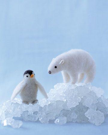 needle felted polar bear and penguin. adorable.: Seasons Crafts, Felt Polar, Crafts Patterns, Polar Bears, Needle Felt Animal, Martha Stewart, Needle Felt Penguins, Needle Felting, Needlefelt