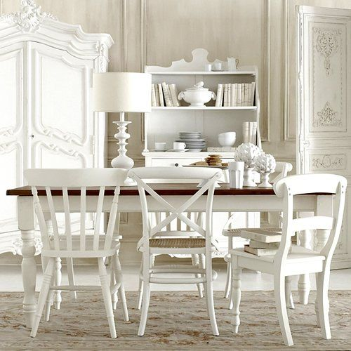 : Dining Rooms,  Boards, White Dining, Mismatched Chairs, All White, Dining Table, White Rooms, Paintings Chairs, Paintings Wood Chairs