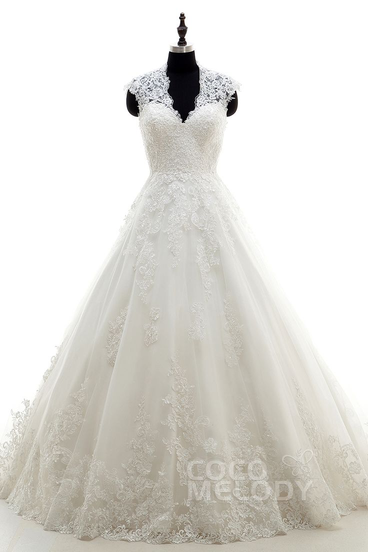 Modern A-Line V-Neck Natural Court Train Tulle Ivory Sleeveless Key Hole Wedding Dress Appliques h7al0084
