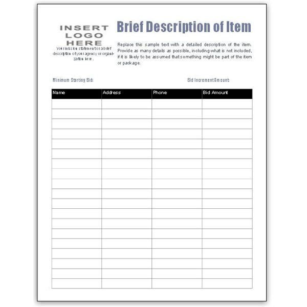 Bid Form Template Free Awesome Free Bid Sheet Template Collection Downloads For Ms Publisher Free Bid Templates Silent Auction Bid Sheets