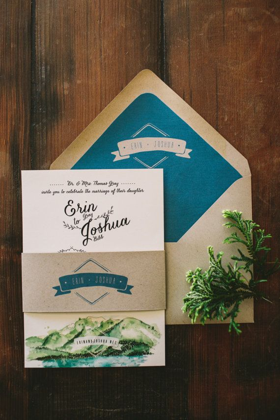 This custom watercolor invitation suite was designed for a couple getting married in beautiful Lake Tahoe. The couple wanted something very