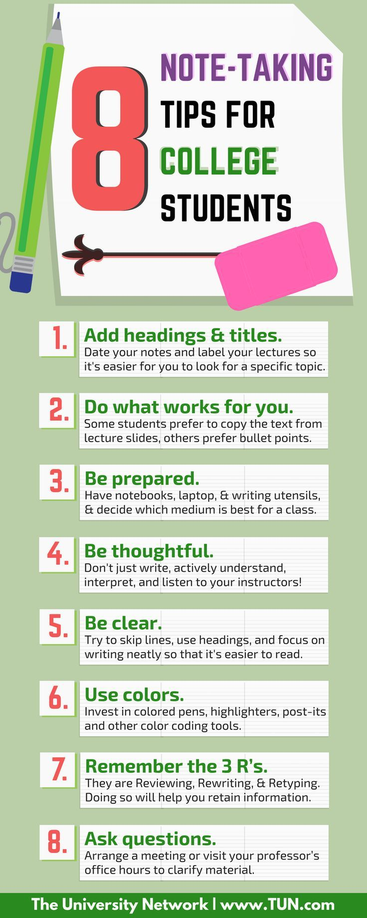 Here are 8 tips that will help you master the art of good note-taking in college.