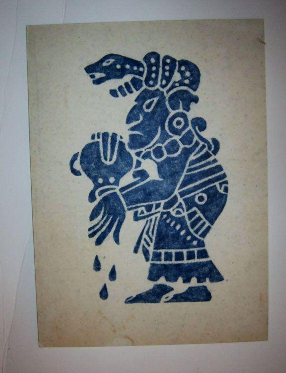 Tribal Print Blue White Ethnic Print Tribal Art by VistaChick, $14.50