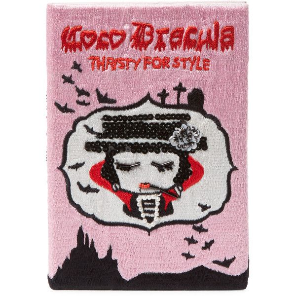 Mua Mua Dolls Women's Coco Dracula Book Clutch ($179) ❤ liked on Polyvore featuring bags, handbags, clutches, multi, embroidered clutches, embroidery handbags, flap purse, strap purse and sequin purse
