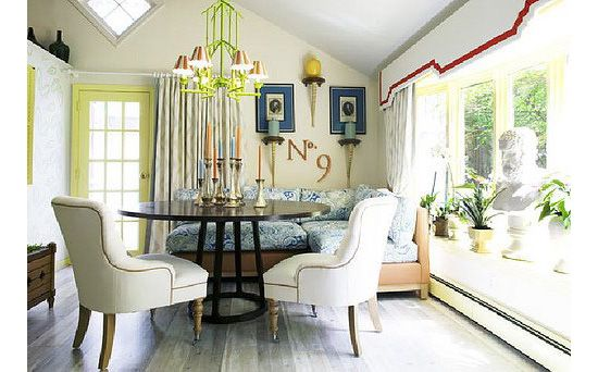 """John Loecke (pronounced """"lucky"""") is my current favorite interior designer and has been for several years. This guest cottage in Westbury, NY was smashing. (Saw it in person.)  The pagoda chandelier was the cherry. Want one."""