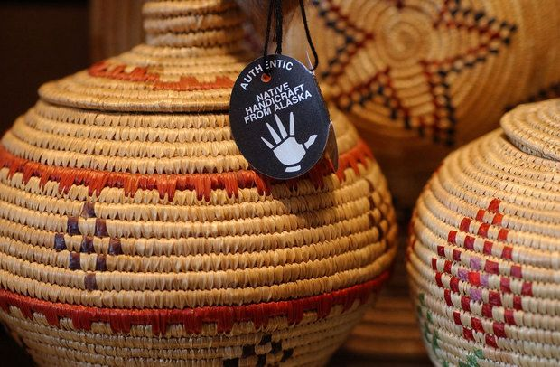 Authentic arts and crafts created by Alaska Natives often are marked with a Silver Hand tag.