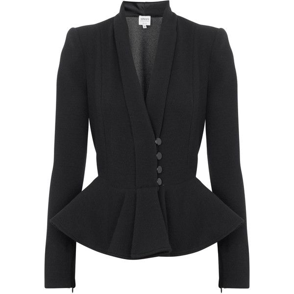 Armani Collezioni Peplum Stretch Crepe Jacket (86.935 HUF) ❤ liked on Polyvore featuring outerwear, jackets, blazers, coats, armani, black, armani collezioni, shoulder pad jacket, blazer jacket and armani collezioni jacket