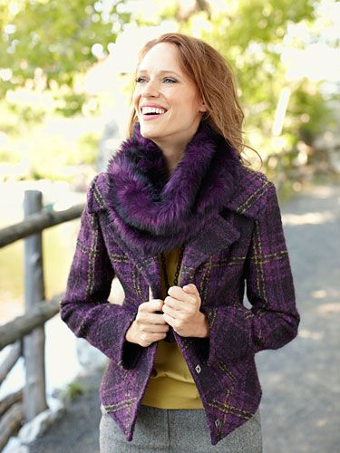 love the fuzzy purple scarf - could I pull it off?
