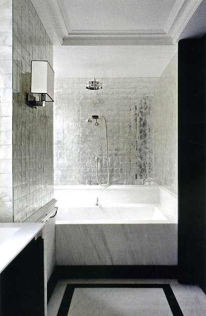 bath metallic tile - great for small bathrooms as it reflects light!