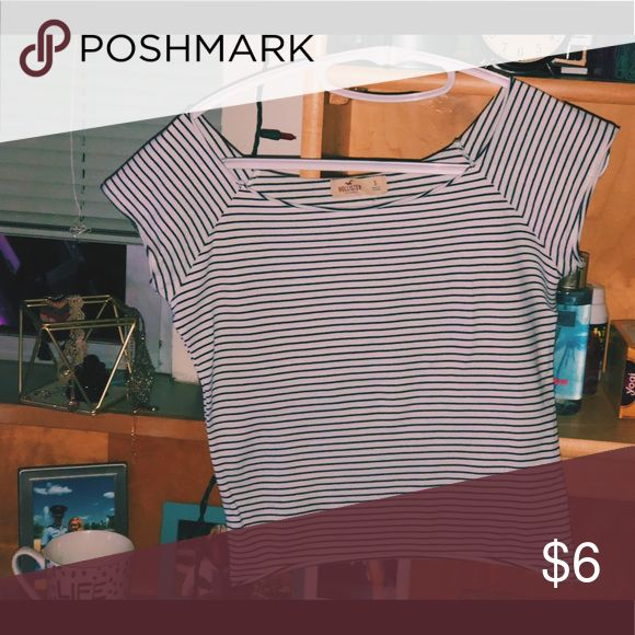 Cropped white and black striped Hollister shirt Lightly worn, snug fit Hollister Tops Crop Tops