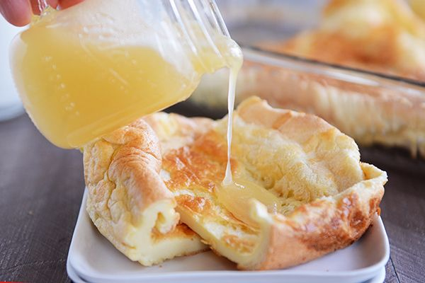 Perfect German Pancakes ~ We make a version of this all the time at home, but we call them Hootenanny Pancakes