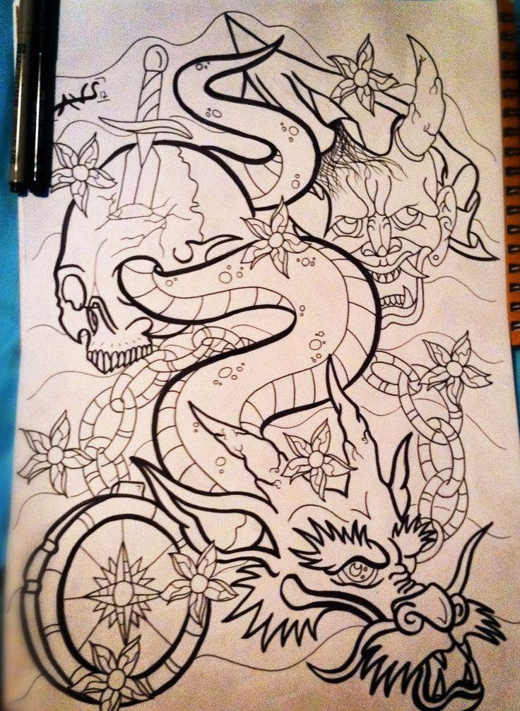 Japanese Dragon Sleeve Tattoo by paintball0531.deviantart.com on @deviantART
