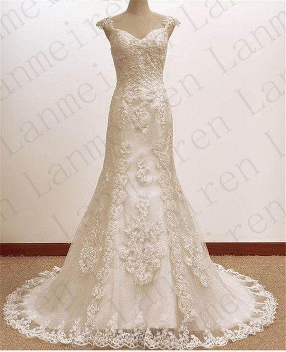 White/ivory Lace Wedding Dress Princess Wedding Gowns Bridal Gown Bridal Dresses Custom