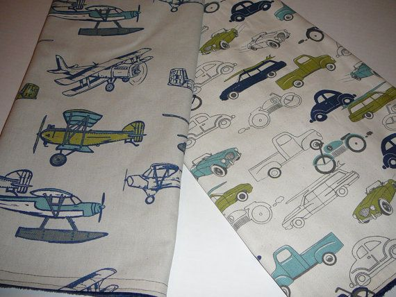 Vintage Airplanes or Cars Blanket by AHouseDivided on Etsy