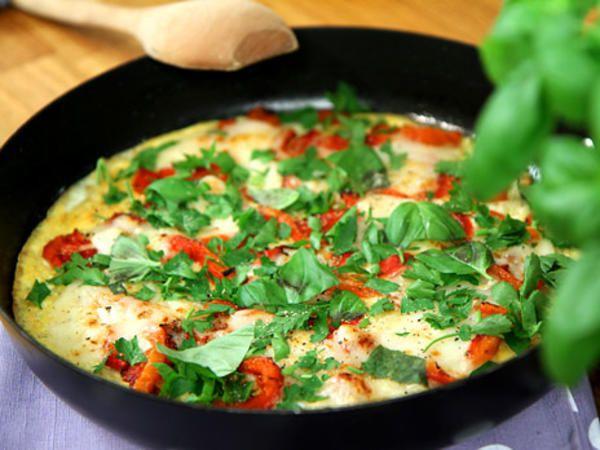 Frittata med paprika och getost