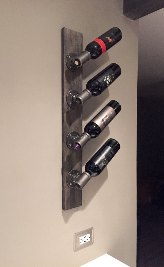 Industrial Modern Wall Wine Rack, Unique Vertical Wall Mounted, Custom Stain Wine Rack