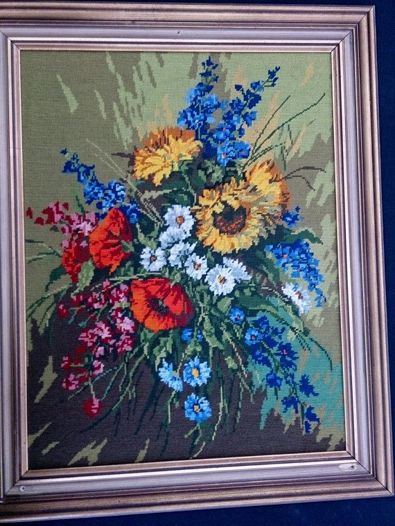 Large Framed Gobelin Picture. Framed Tapestry. Still Life FLowers. ROP0046