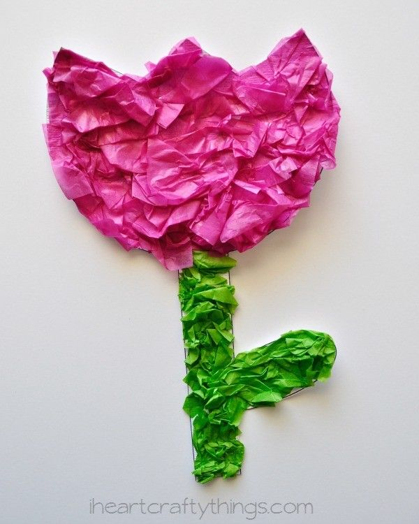 Tissue Paper Tulip Kids Craft (with printable pattern) | I Heart Crafty Things