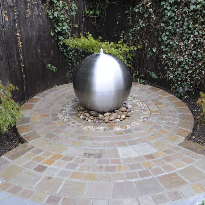 Aterno3 30cm Brushed Stainless Steel Sphere Water Feature