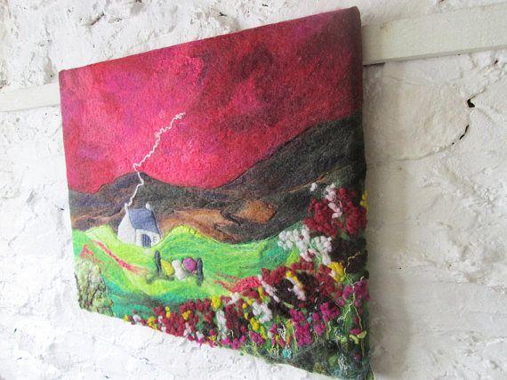 felt wall art wet felted felt landscape red sky at night