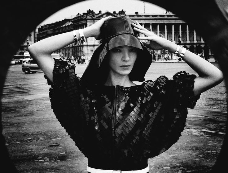 Mariacarla Boscono by Stephane Sednaoui for Numero Magazine - Giorgio Armani leather jacket, Wanda Nylon leather hat