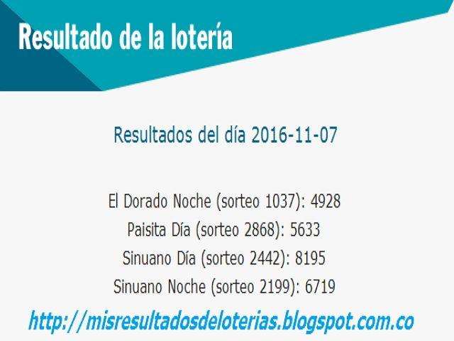 Resultado de la Lotería: Resultados-de-las-loterias-de-colombia-hoy-noviemb...