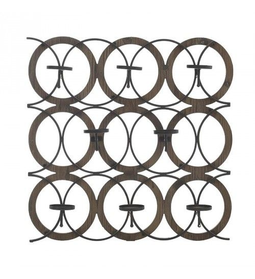 WOODEN_METALLLIC WALL CANDLE  HOLDER W_8 SECTIONS 60X11X60