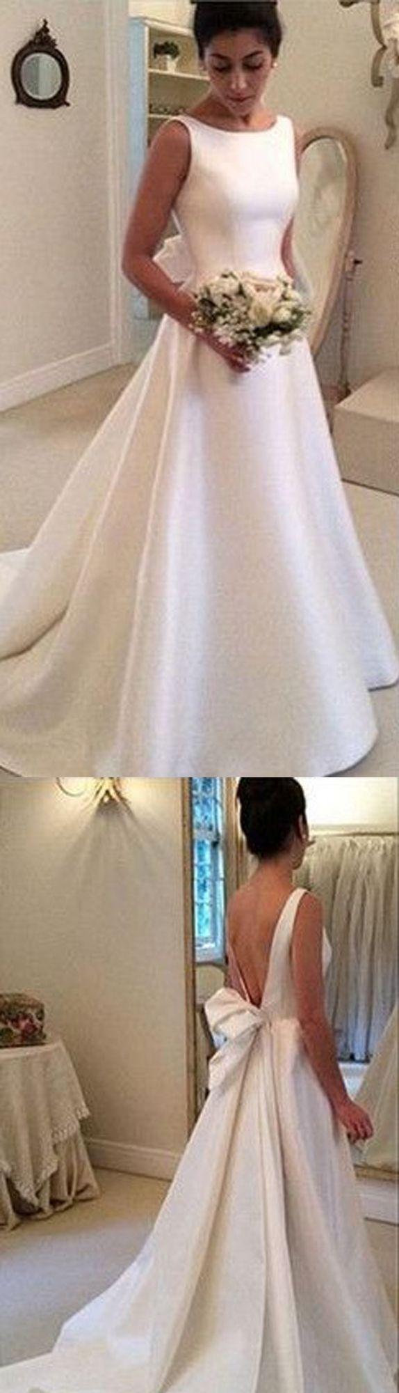 Satin Wedding Dresses,A-Line Formal Wedding Dress, Simple Wedding Dress, Backless Wedding Dresses, Elegant Vintage Women Wedding Gown 2017