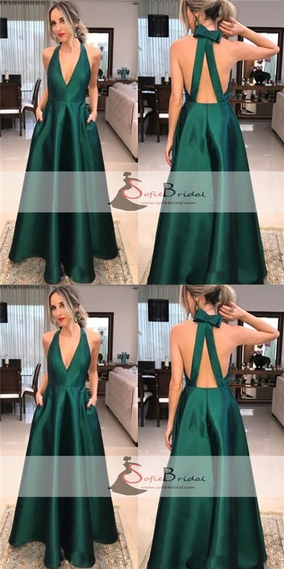 Green Satin V-neck Long A-line Prom Dresses, Simple Elegant Prom Dresses, Prom Dresses, PD0409