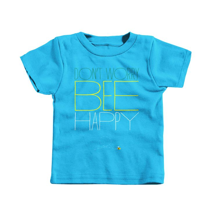 """""""Don't Worry, Bee Happy"""" designed by Greg Kirk. Perfect for a summer wardrobe! This design features quirky typography with a twist on the well known phrase and a cute bee illustration."""