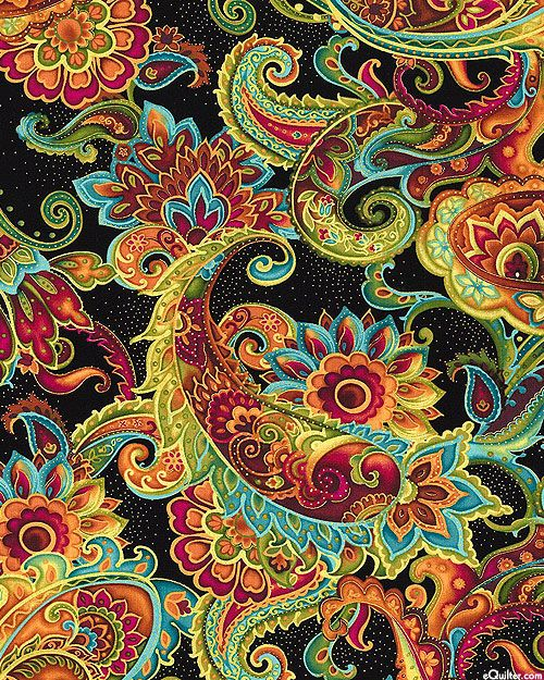 eQuilter Bellagio - Cloisonné Paisleys - Black/Gold