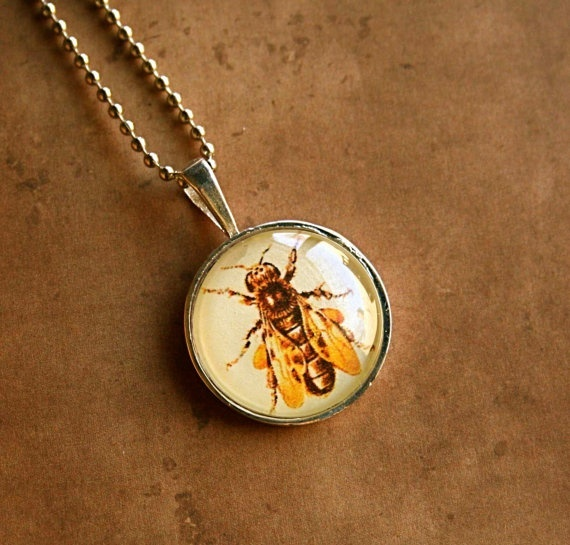 Get buzzing!  Bee pendant necklace for spring, by CrowBiz, $ 15