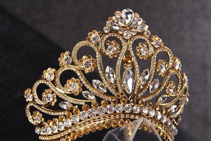handmade princess bridal tiara crown, wedding tiara, crystal gold tiara handmade for order inlaid with brown SWAROVSKI Crystals