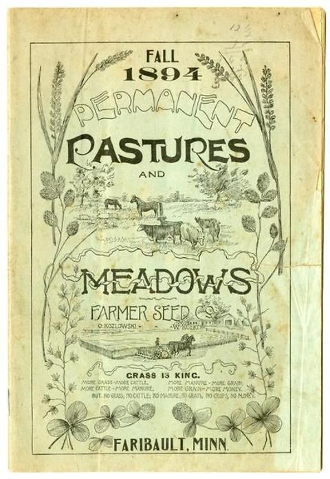 While not as colorful as later editions, the fall 1894 issue of the Farmer Seed & Nursery catalog still boasted the quality of its seeds with images of healthy horses and cows grazing in permanent pastures and farmers harvesting a bounty of crops-- all possible with an order for seeds from Farmers!  Farmer Seed & Nursery originated in Faribault, MN in 1888. Andersen Horticultural Library hosts a collection of vintage Farmer Seed & Nursery catalogs.