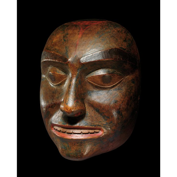 A Tsimshian portrait mask, British Columbia, Northwest Coast  Tsimshian mask carvers are highly regarded for their sensitive and very naturalistic 'portrait' style masks.