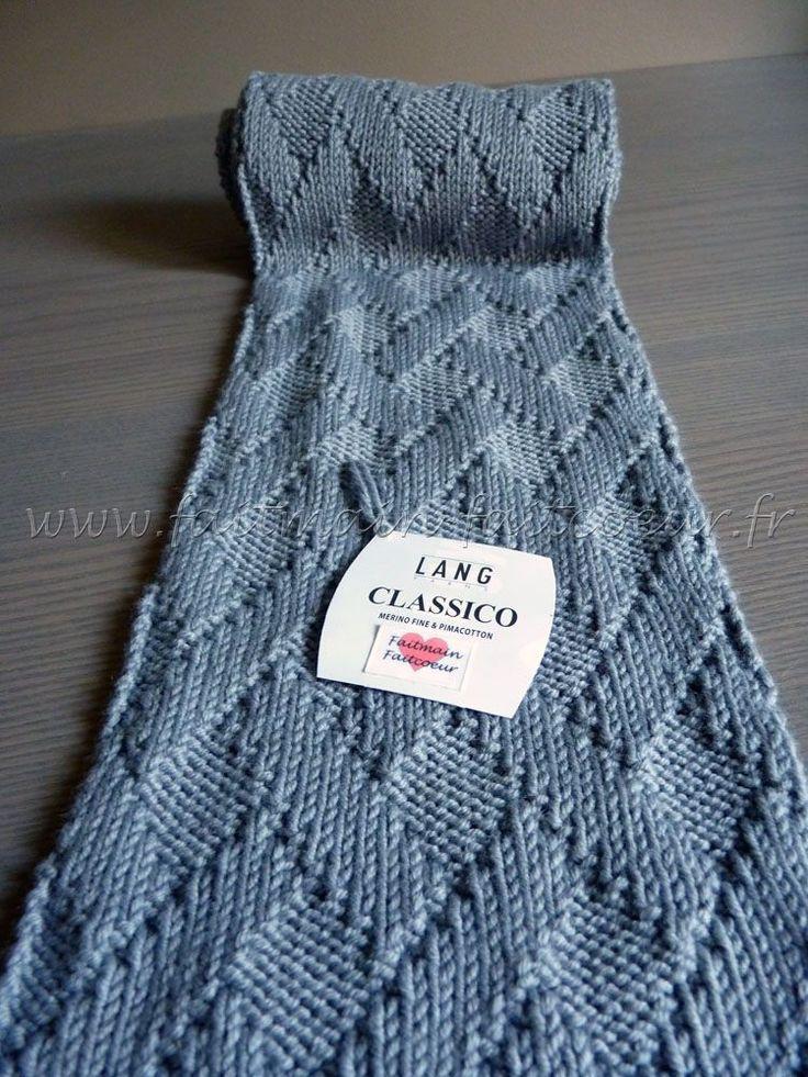 Écharpe tricotée dans un motif à effet de tissage - tutoriel