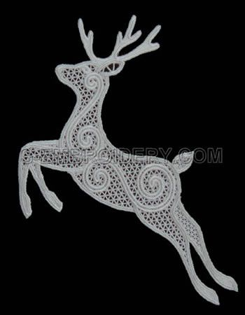 10495 Free standing lace Reindeer Christmas window decoration - beautiful reindeer would be gorgeous on a stocking