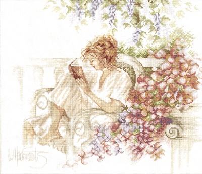 Reading on the Patio Cross Stitch Kit By Lanarte