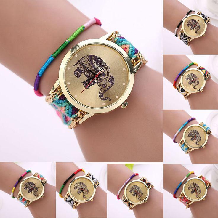 Encontrar Más Relojes de moda Información acerca de Relojes Mujer 2015 mujeres de moda de la muchacha tejida hechos a mano trenzado de la pulsera del elefante Dial del reloj Feida, alta calidad reloj pulsera, China Pulsera de patrón Proveedores, barato reloj pulsera de la eliminación pin de Feida en Aliexpress.com