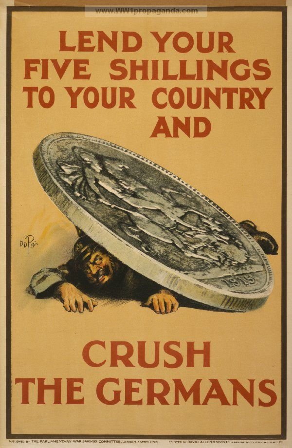 Lend your five shillings to your country and crush the Germans. LOC Summary: Poster showing a German soldier crushed by a monumental coin. LOC Notes: Poster no. 23.