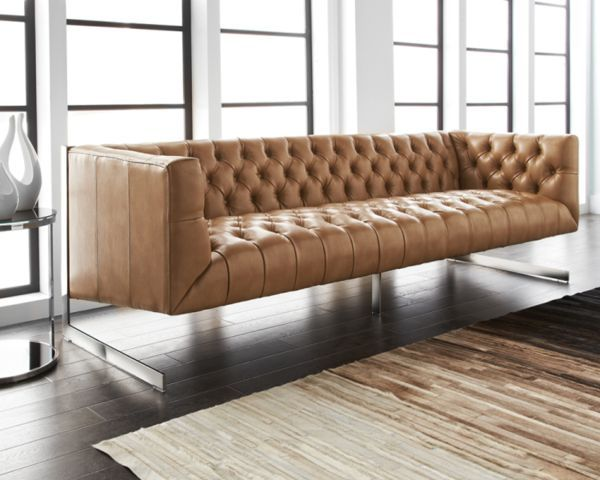 Tufted Sofa Viper Peanut Nobility Leather Sofa contemporary sofas vancouver Briers Home Furnishings