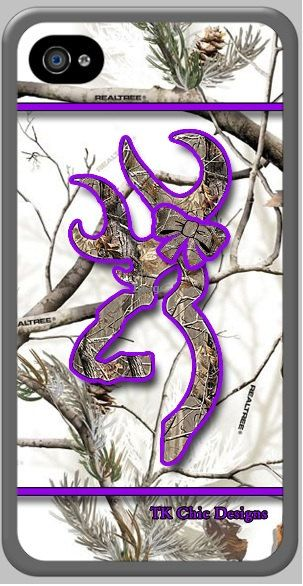 TK Chic Designs iPhone 4/4s custom case. Camo buck & bow trimmed in purple.