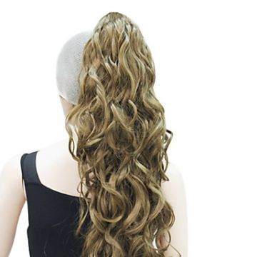 High Quality Synthetic Curly Long Light Golden Brown Ponytail