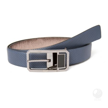 FERI - Federico Belt - Blue Perforated  - Mens genuine leather belt - Soft touch leather with pin hole design - Hand made and hand dyed - Buckle is plated with pewter colour - Buckle is custom engraved with FERI logos  Please refer to size chart for your size.  www.gwtcorp.com/ghem or email fashionforghem.com for big discount