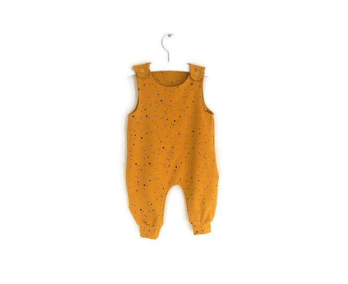 angenehmes Gefühl groß auswahl Shop für authentische Dots onesie, ocher yellow newborn romper, baby overall, dots ...
